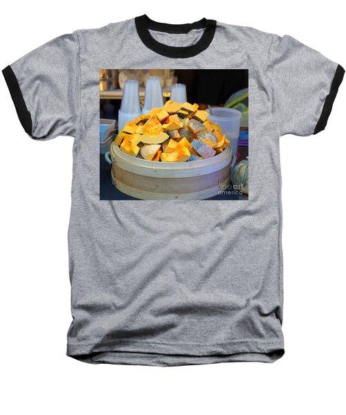 Baseball T-Shirt featuring the photograph Selling Fresh Pumpkin Shakes by Yali Shi