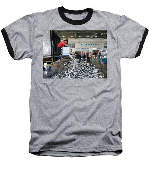 Baseball T-Shirt featuring the photograph Selling Grey Mullet Fish In Taiwan by Yali Shi