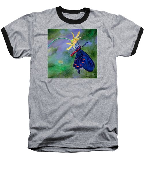 Baseball T-Shirt featuring the painting Semperi Swallowtail Butterfly by AnnaJo Vahle