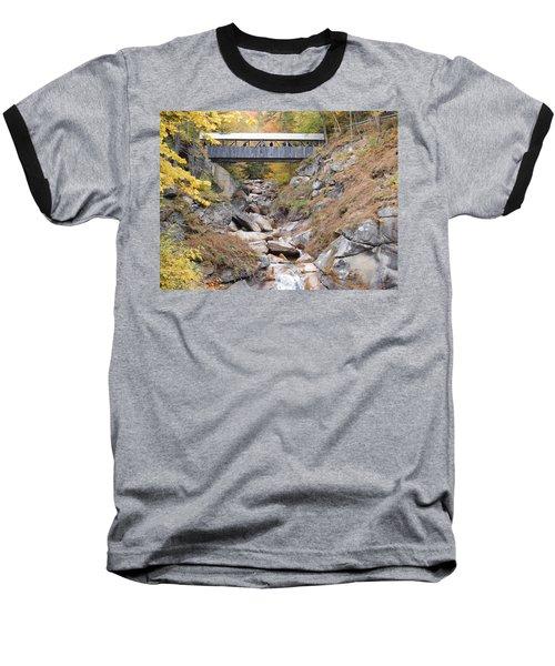 Sentinel Pine Covered Bridge Baseball T-Shirt by Catherine Gagne