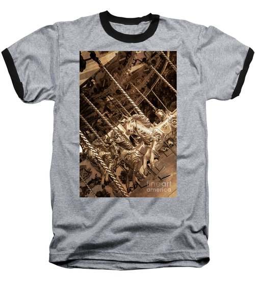Sepia Carousel Horse Baseball T-Shirt