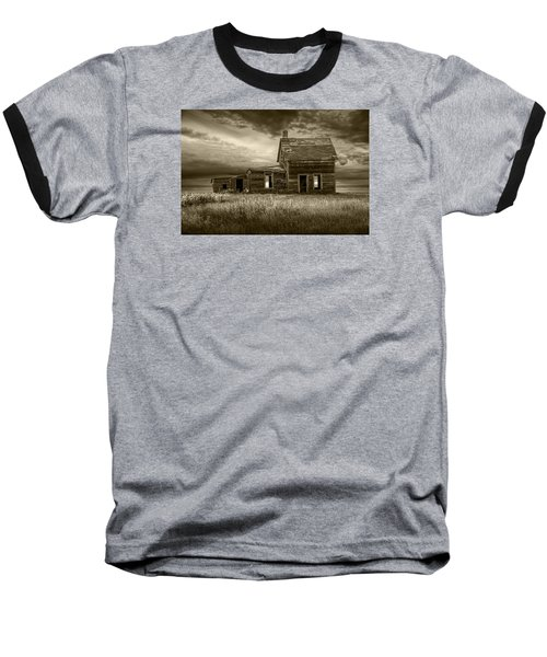 Sepia Tone Of Abandoned Prairie Farm House Baseball T-Shirt