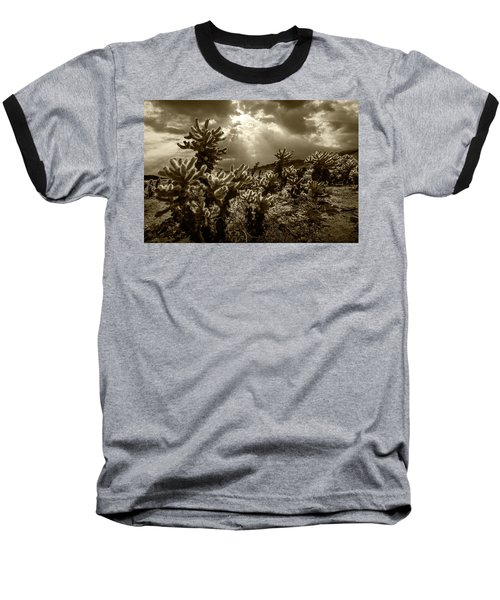 Baseball T-Shirt featuring the photograph Sepia Tone Of Cholla Cactus Garden Bathed In Sunlight by Randall Nyhof