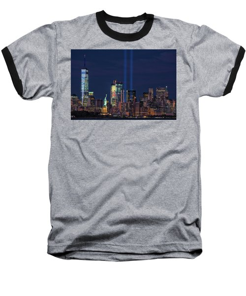 Baseball T-Shirt featuring the photograph September 11tribute In Light by Emmanuel Panagiotakis