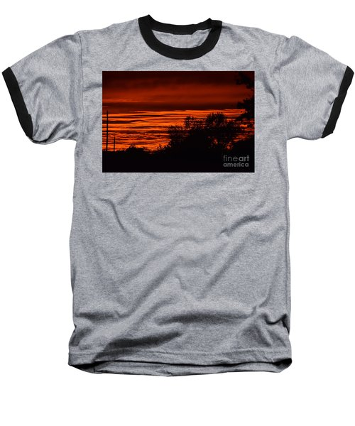 Baseball T-Shirt featuring the photograph September Kansas Sunset by Mark McReynolds