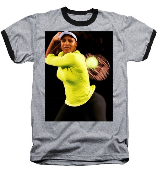 Serena Williams Bamm Baseball T-Shirt by Brian Reaves