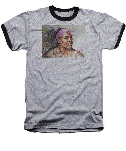 Serena Williams - Portrait 6 Baseball T-Shirt