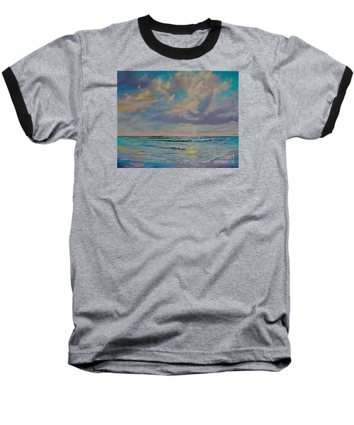 Baseball T-Shirt featuring the painting Serene Sea by AnnaJo Vahle