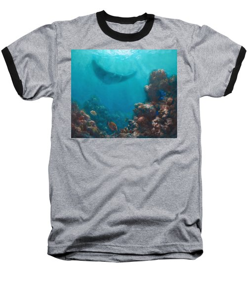 Serenity - Hawaiian Underwater Reef And Manta Ray Baseball T-Shirt by Karen Whitworth