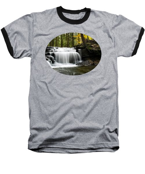 Serenity Waterfalls Landscape Baseball T-Shirt by Christina Rollo