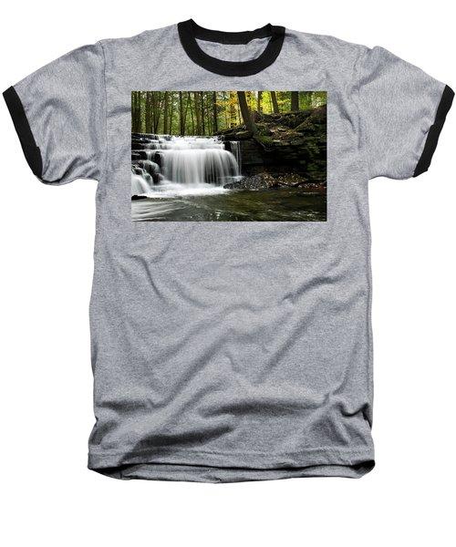 Serenity Waterfalls Landscape Baseball T-Shirt