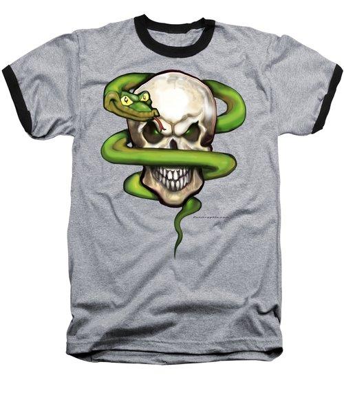 Serpent Evil Skull Baseball T-Shirt by Kevin Middleton