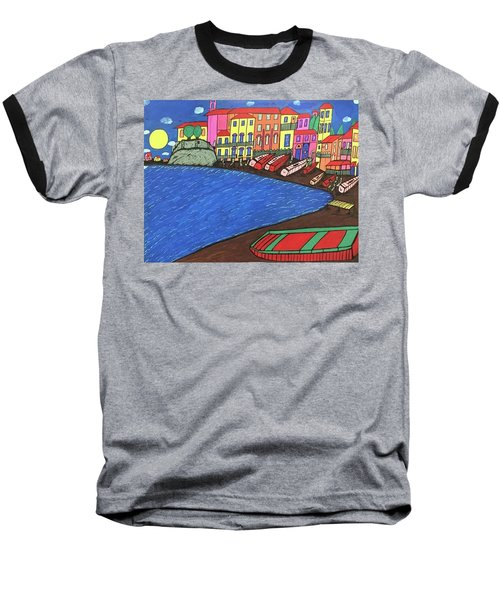 Baseball T-Shirt featuring the painting Sestri Levante Italy by Jonathon Hansen