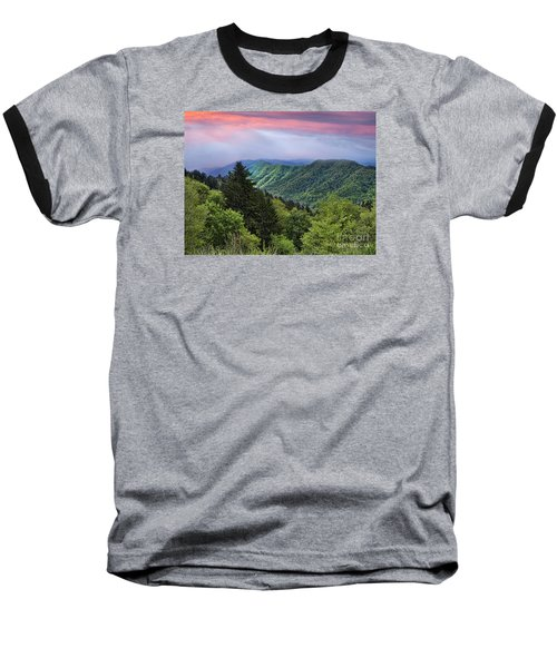 Setting Sun Over The Smokey Mountains Baseball T-Shirt
