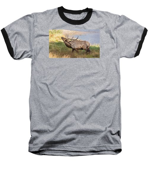 Baseball T-Shirt featuring the photograph Seven Point Elk Bugling by Stephen  Johnson