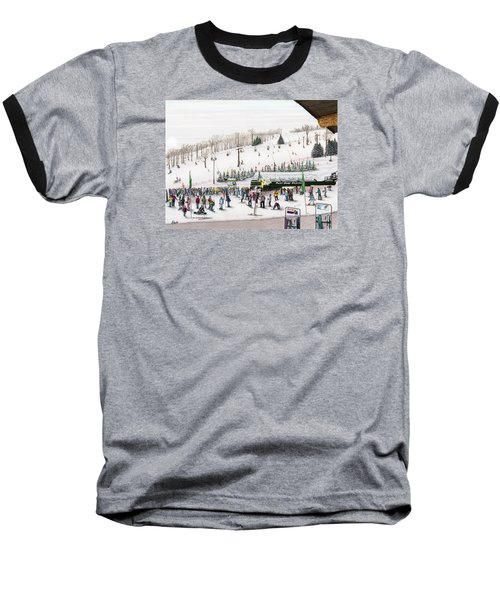 Baseball T-Shirt featuring the painting Seven Springs Stowe Slope by Albert Puskaric