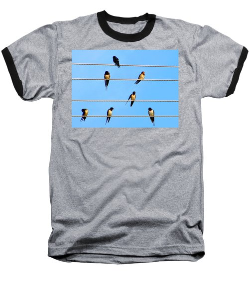 Baseball T-Shirt featuring the photograph Seven Swallows by Ana Maria Edulescu