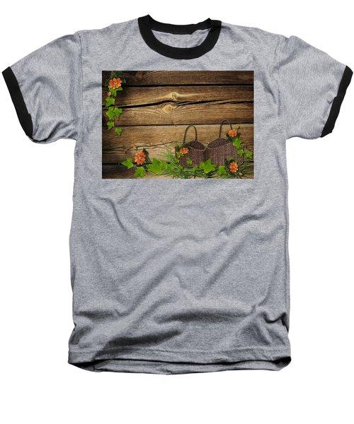 Shabby Chic Flowers In Rustic Basket Baseball T-Shirt