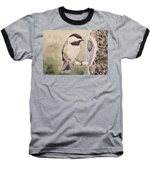 Shades Of Black Capped Chickadee Baseball T-Shirt