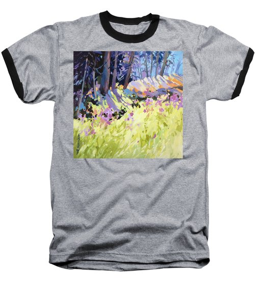 Baseball T-Shirt featuring the painting Shadow Dance Alaska by Rae Andrews