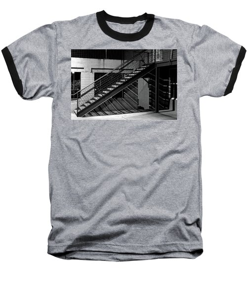 Shadow Of Stairs In Mono Baseball T-Shirt by Christopher McKenzie