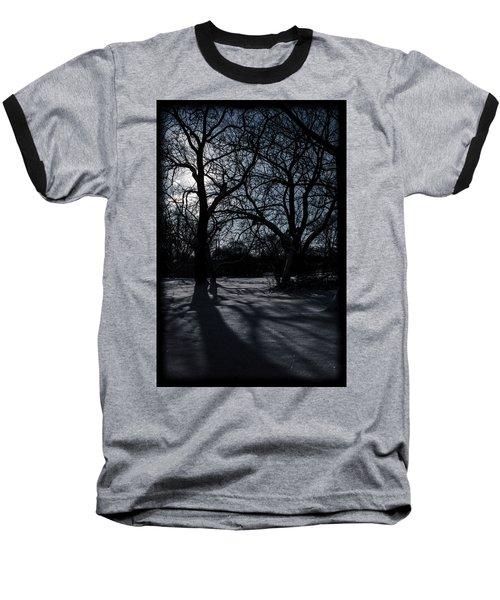 Shadows In January Snow Baseball T-Shirt