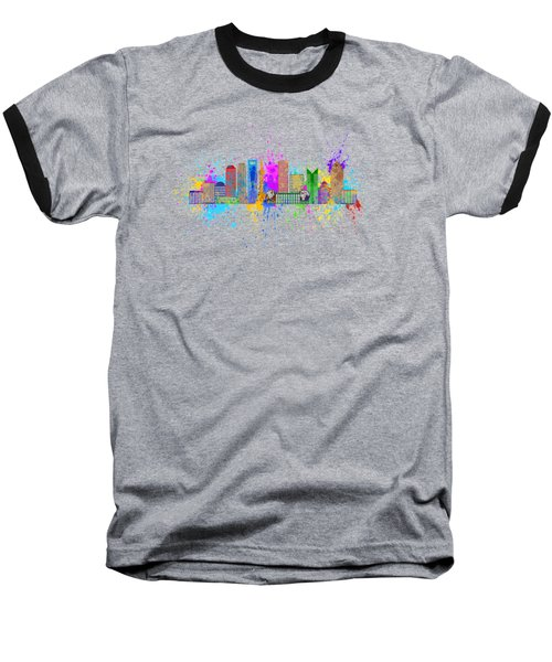 Shanghai Skyline Paint Splatter Illustration Baseball T-Shirt