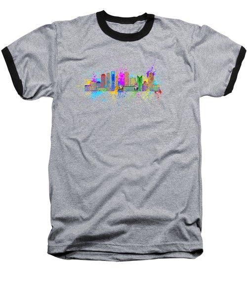 Shanghai Skyline Paint Splatter Illustration Baseball T-Shirt