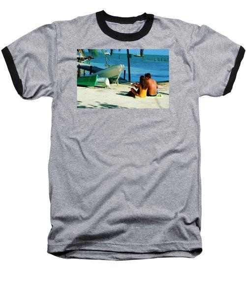 Sharing A Coconut On Caye Caulker, Belize Baseball T-Shirt