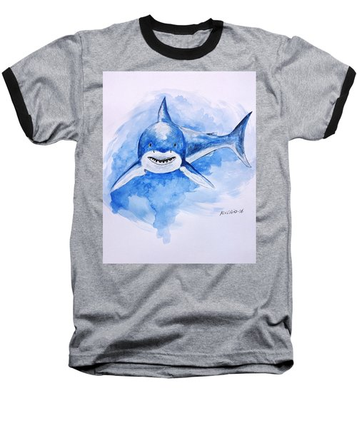 Baseball T-Shirt featuring the painting Shark by Edwin Alverio
