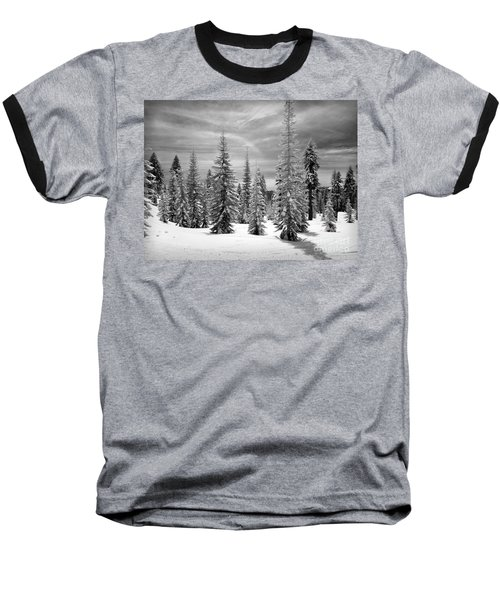 Shasta Snowtrees Baseball T-Shirt by Martin Konopacki