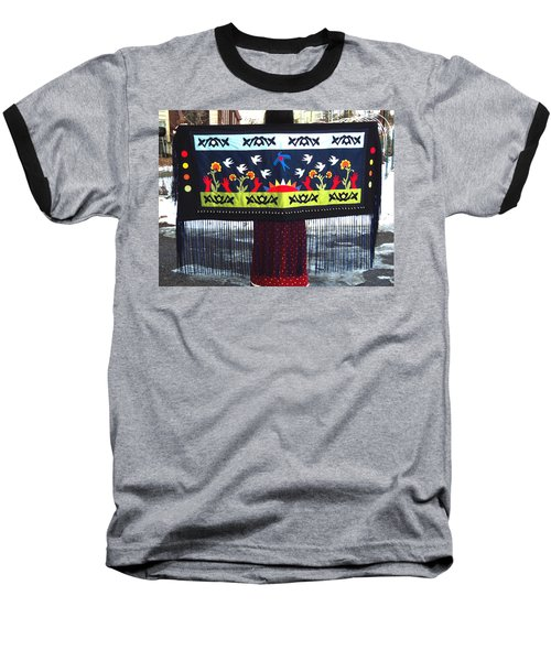 Baseball T-Shirt featuring the tapestry - textile Shawl - Lost Birds Return by Chholing Taha