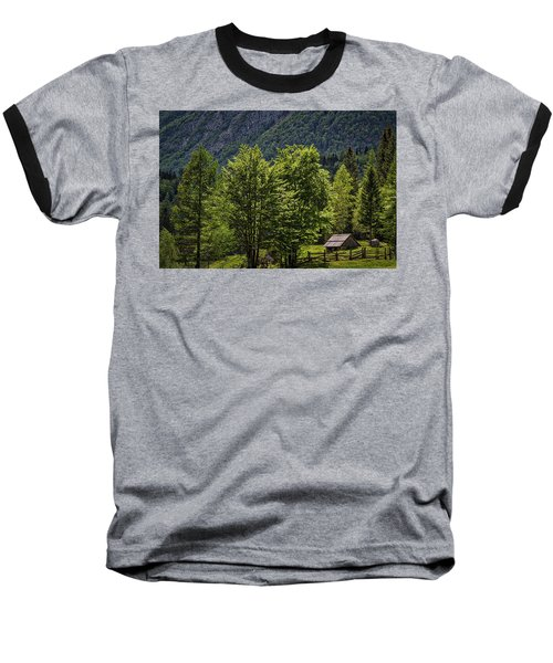 Baseball T-Shirt featuring the photograph Shed In The Slovenian Alps by Stuart Litoff