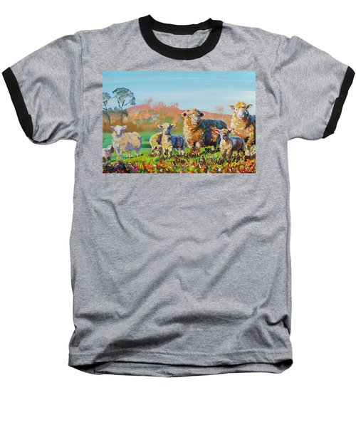 Sheep And Lambs In Devon Landscape Bright Colors Baseball T-Shirt