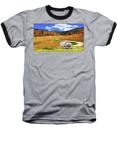 Sheep And Road Ver 2 Baseball T-Shirt