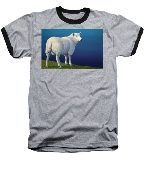 Sheep At The Edge Baseball T-Shirt by James W Johnson