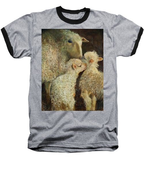 Sheep With Two Lambs Baseball T-Shirt