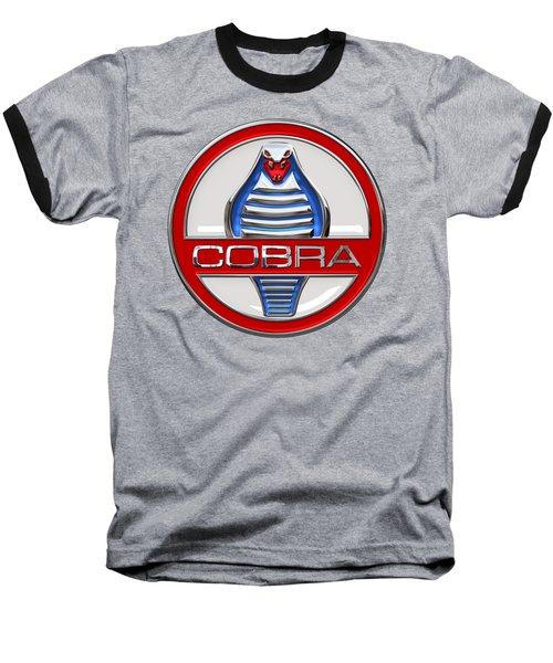 Shelby Ac Cobra - Original 3d Badge On Red Baseball T-Shirt by Serge Averbukh