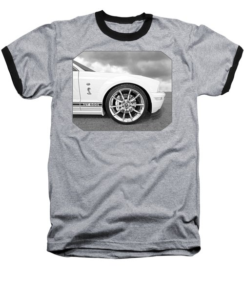 Shelby Gt500 Wheel Black And White Baseball T-Shirt by Gill Billington