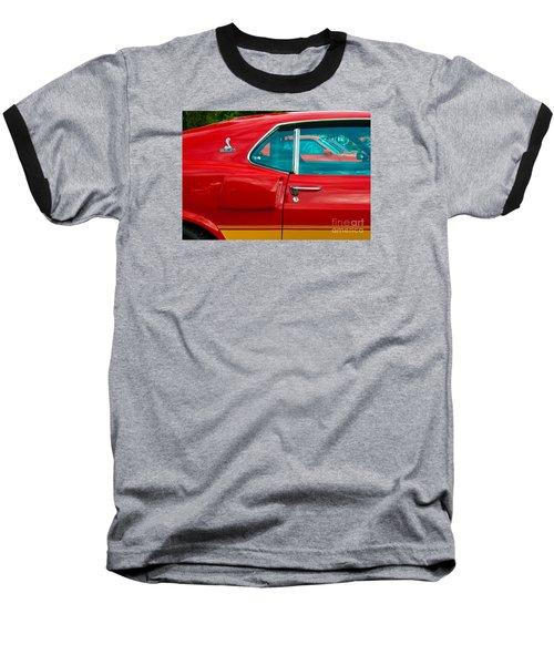 Red Shelby Mustang Side View Baseball T-Shirt