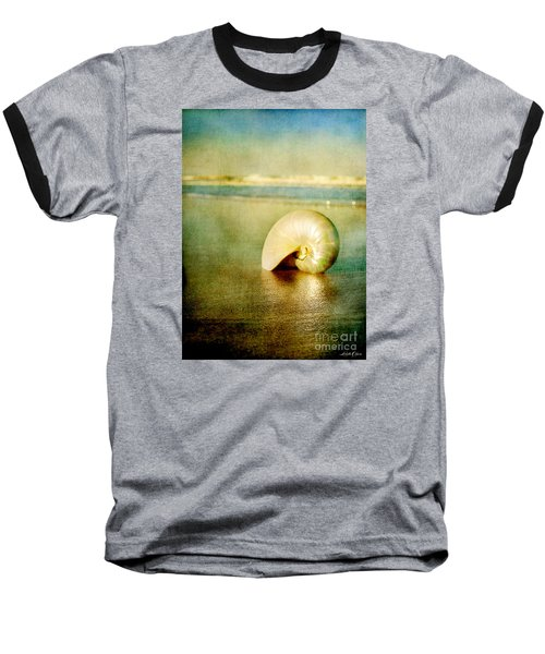 Baseball T-Shirt featuring the photograph Shell In Sand by Linda Olsen