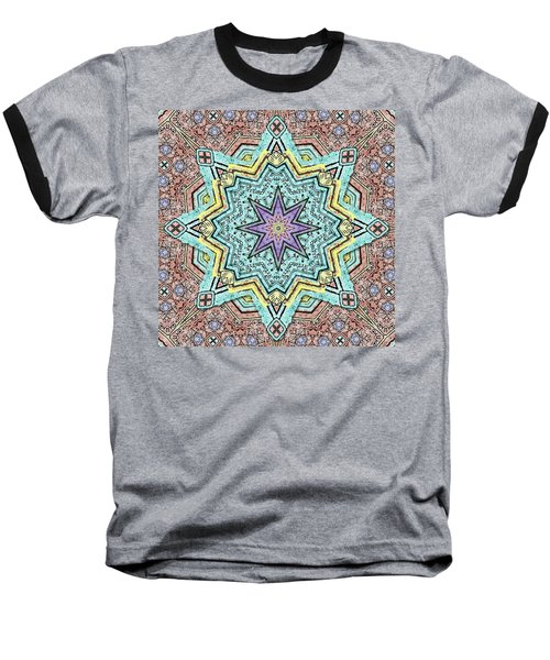 Shell Star Mandala Baseball T-Shirt by Deborah Smith
