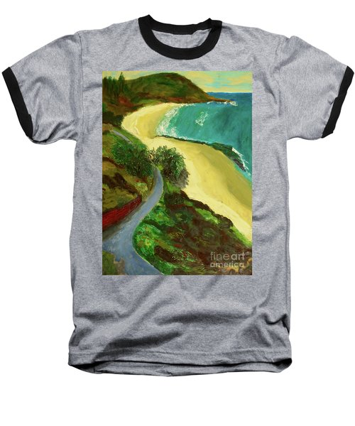 Baseball T-Shirt featuring the painting Shelly Beach by Paul McKey