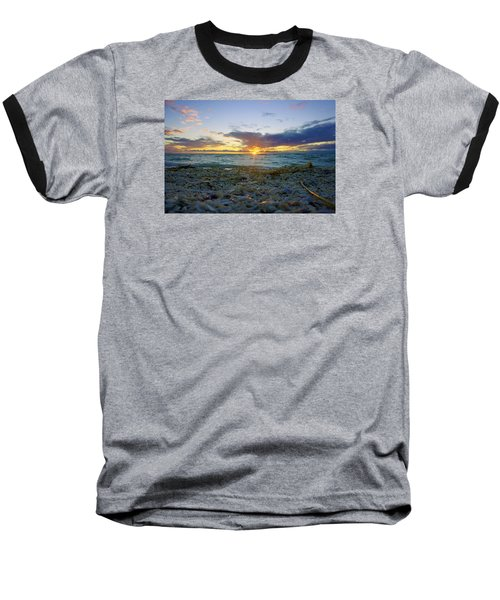 Baseball T-Shirt featuring the photograph Shells On The Beach At Sunset by Robb Stan