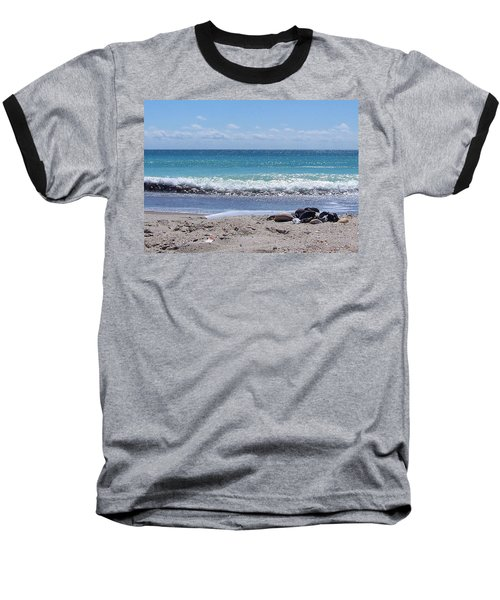 Baseball T-Shirt featuring the photograph Shells On The Beach by Sandi OReilly