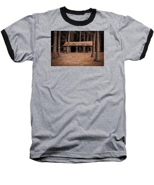 Shelter In The Woods Baseball T-Shirt by Menachem Ganon