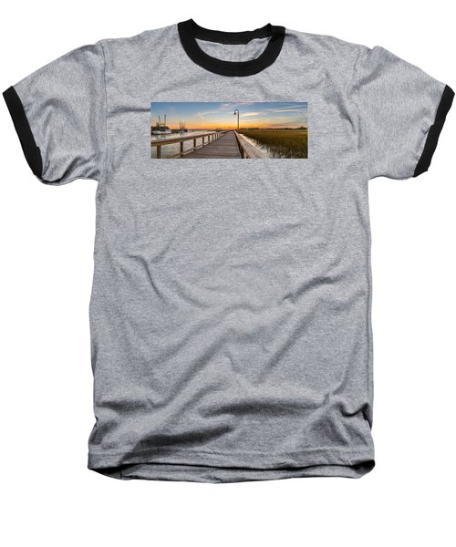 Shem Creek Pier Panoramic Baseball T-Shirt