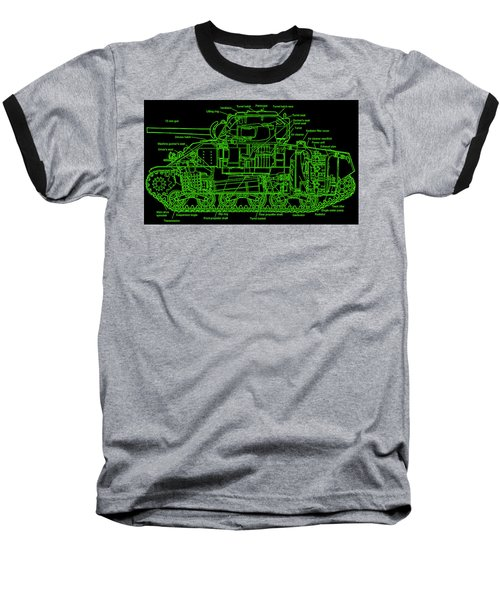 Baseball T-Shirt featuring the drawing Sherman M4a4 Tank by Robert Geary