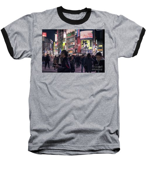 Baseball T-Shirt featuring the photograph Shibuya Crossing, Tokyo Japan 3 by Perry Rodriguez