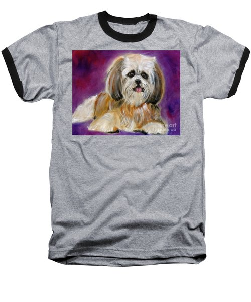 Shih-tzu Puppy Baseball T-Shirt by Jenny Lee